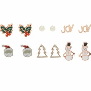 6 pairs Christmas green red holiday stud earrings